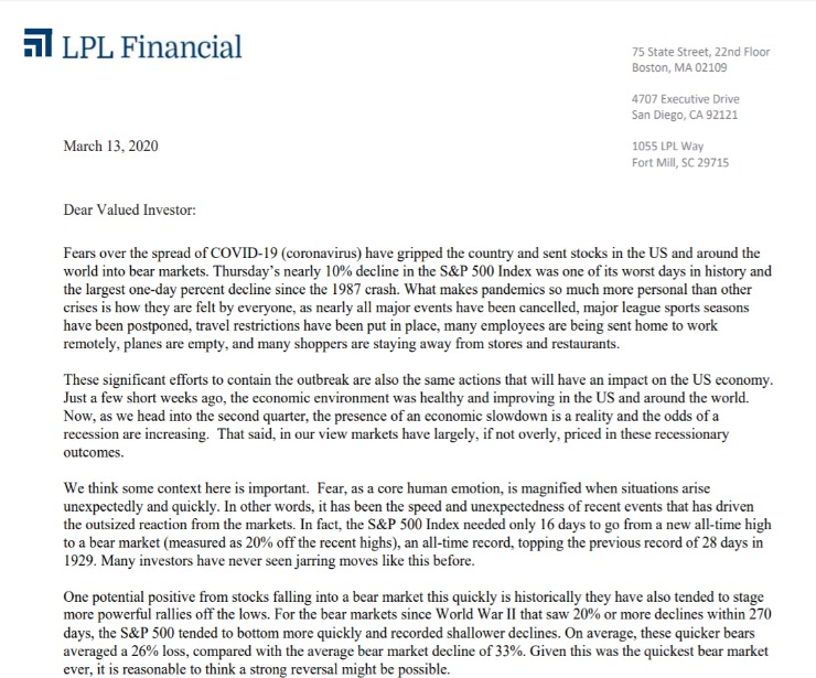 Client Letter | Managing Volatility | March 13, 2020