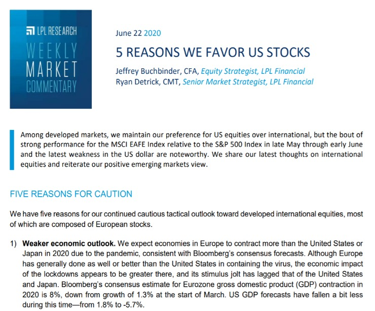 5 Reasons We Favor US Stocks   Weekly Market Commentary   June 22, 2020