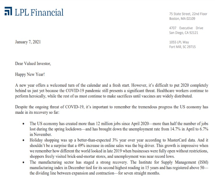 Client Letter | 2021 Brings a Fresh Start | January 7, 2021