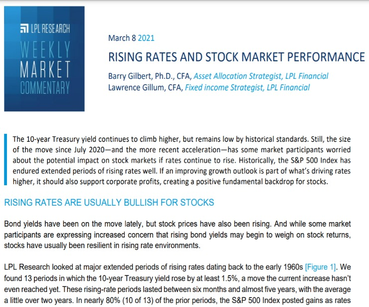 Rising Rates and Stock Market Performance | Weekly Market Commentary | March 8, 2021